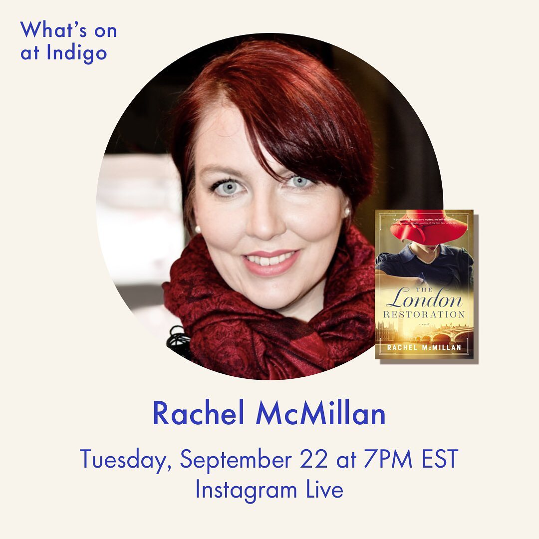 @indigo instagram post: Historical fiction, thrilling suspense, and more. Join us this week on Instagram Live as we chat with Rachel McMillan (@...